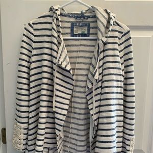 Anthropologie Striped Cardigan with Lace Trim XS